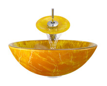 "Aurora A01 Orange Yellow Double Layer Glass Vessel Sink with Chrome Faucet & Grid Drain - 16.5"" x 16.5"""