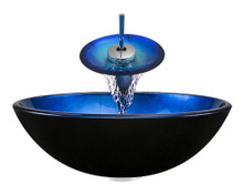 "Aurora A04 Blue Black Foil Undertone Glass Vessel Sink with Chrome Faucet & Grid Drain - 16.5"" x 16.5"""