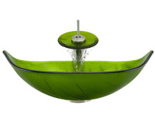 "Aurora A05 Green Glass Vessel Sink with Brushed Nickel Faucet & Grid Drain - 23.25"" x 14.5"""