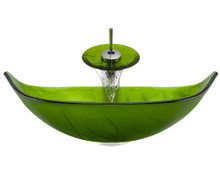 "Aurora A05 Green Glass Vessel Sink with Chrome Faucet & Grid Drain - 23.25"" x 14.5"""