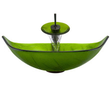 "Aurora A05 Green Glass Vessel Sink with Oil Rubbed Bronze Faucet & Grid Drain - 23.25"" x 14.5"""
