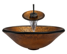 "Aurora A07 Bronze Foil Undertone Glass Vessel Sink with Oil Rubbed Bronze Faucet & Grid Drain - 17.75"" x 17.75"""