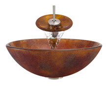 "Aurora A08 Red Brown Frosted Glass Vessel Sink with Brushed Nickel Faucet & Grid Drain - 16.5"" x 16.5"""