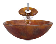 "Aurora A08 Red Brown Frosted Glass Vessel Sink with Chrome Faucet & Grid Drain - 16.5"" x 16.5"""