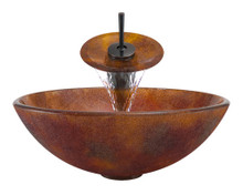 "Aurora A08 Red Brown Frosted Glass Vessel Sink with Oil Rubbed Bronze Faucet & Grid Drain - 16.5"" x 16.5"""