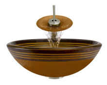 "Aurora A09 Orange Hand Painted Glass Vessel Sink with Brushed Nickel Faucet & Grid Drain - 16.5"" x 16.5"""