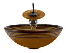 "Aurora A09 Orange Hand Painted Glass Vessel Sink with Oil Rubbed Bronze Faucet & Grid Drain - 16.5"" x 16.5"""