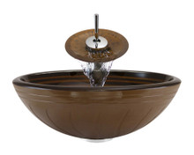 "Aurora A10 Brown Hand Painted Glass Vessel Sink with Chrome Faucet & Grid Drain - 16.5"" x 16.5"""