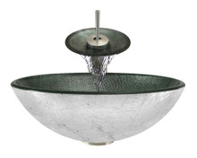 "Aurora A11 Silver Glass Vessel Sink with Brushed Nickel Faucet & Grid Drain - 16.5"" x 16.5"""