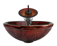 "Aurora A12 Red Glass Vessel Sink with Oil Rubbed Bronze Faucet & Grid Drain - 16.5"" x 16.5"""