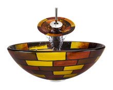 "Aurora A15 Red Yellow Brown Glass Vessel Sink with Chrome Faucet & Grid Drain - 16.5"" x 16.5"""
