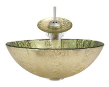 "Aurora A16 Gold Foil Undertone Glass Vessel Sink with Brushed Nickel Faucet & Grid Drain - 16.75"" x 16.75"""