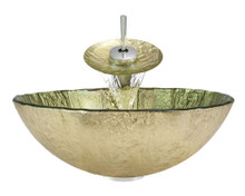 "Aurora A16 Gold Foil Undertone Glass Vessel Sink with Chrome Faucet & Grid Drain - 16.75"" x 16.75"""