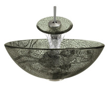 """Aurora A17 Green Glass Vessel Sink with Brushed Nickel Faucet & Grid Drain - 16.5"""" x 16.5"""""""