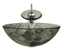 """Aurora A17 Green Glass Vessel Sink with Chrome Faucet & Grid Drain - 16.5"""" x 16.5"""""""