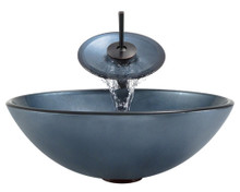 "Aurora A24 Blue Hand Painted Glass Vessel Sink with Oil Rubbed Bronze Faucet & Grid Drain - 16.5"" x 16.5"""