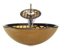 "Aurora A26 Bronze Foil Undertone Glass Vessel Sink with Chrome Faucet & Grid Drain - 16.5"" x 16.5"""