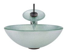 """Aurora A27 Frosted Foil Undertone Glass Vessel Sink with Oil Rubbed Bronze Faucet & Grid Drain - 16.5"""" x 16.5"""""""