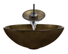 "Aurora A28 Bronze Foil Undertone Glass Vessel Sink with Oil Rubbed Bronze Faucet & Grid Drain - 16.5"" x 16.5"""