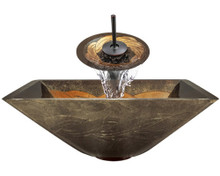 "Aurora A29 Bronze Yellow Foil Undertone Glass Vessel Sink with Oil Rubbed Bronze Faucet & Grid Drain - 16.75"" x 16.75"""