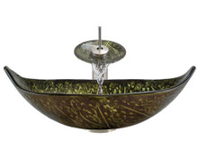"Aurora A33 Green Bronze Foil Undertone Glass Vessel Sink with Brushed Nickel Faucet & Grid Drain - 23.25"" x 14.75"""
