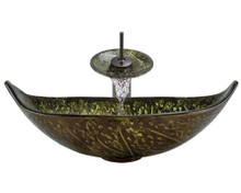 "Aurora A33 Green Bronze Foil Undertone Glass Vessel Sink with Oil Rubbed Bronze Faucet & Grid Drain - 23.25"" x 14.75"""