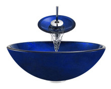 "Aurora A34 Blue Foil Undertone Glass Vessel Sink with Chrome Faucet & Grid Drain - 16.5"" x 16.5"""