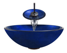 "Aurora A34 Blue Foil Undertone Glass Vessel Sink with Oil Rubbed Bronze Faucet & Grid Drain - 16"" x 9"""
