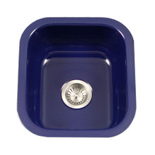 "Houzer PCB-1750 NB 17.32"" x 15.59"" Porcela Undermount Porcelain Enamel Steel Single Bowl Kitchen Sink in Navy Blue"