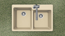 "Houzer M-175 Sand 33""W x 22""L x 9.5""D Quartztone Topmount Composite Granite Double Bowl Kitchen Sink - Sand"