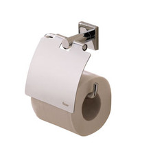 Valsan Braga Square Base Toilet Paper Roll Holder with Lid - Polished Nickel