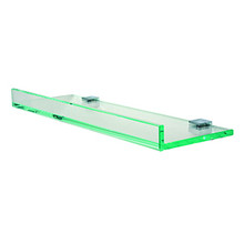 """Valsan Pombo Tetris R Glass Shelf with Front Lip and Square Backplate 27 1/2"""" X 4 7/8"""" - Polished Nickel"""