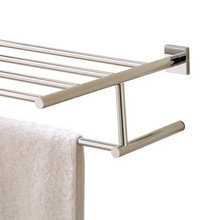 "Valsan Braga Square Base Towel Shelf & Bar / Rack 24"" - Polished Nickel"