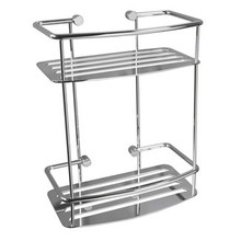 Valsan Classic D-Shape Soap & Shampoo Two Tier Shower Shelf - Chrome