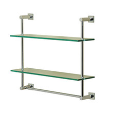 Valsan Essentials Wall Mounted Two Tier Glass Shelf with Towel Rail & Braga Backplates - Satin Nickel