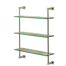 Valsan Essentials Wall Mounted Three Tier Glass Shelf with Braga Backplates - Satin Nickel