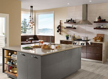 Kraftmaid Kitchen Cabinets - Slab-Veneer (AG7L) High Gloss Foil in Greyloft