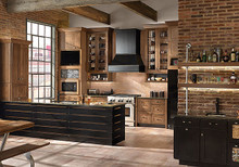 Kraftmaid Kitchen Cabinets - Square Raised Panel - Solid (TWSA) Rustic Alder in Husk