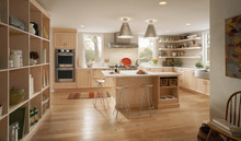 Kraftmaid Kitchen Cabinets - Square V - groove - Solid (AB0M) Maple in Parchment