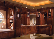 Kraftmaid Bathroom Cabinets - Square Raised Panel - Solid (MTC) Cherry in Burnished Autumn Blush