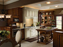 Kraftmaid Kitchen Cabinets - Square Raised Panel - Solid (ALC) Cherry in Chocolate