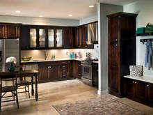 Kraftmaid Kitchen Cabinets - Square Recessed Panel - Veneer (LY) Cherry in Peppercorn