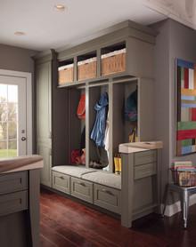Kraftmaid Entryway / Mudroom Cabinets -  Square Raised Panel - Solid (AB1M) Maple in Sage