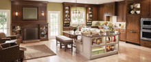 Kraftmaid Kitchen Cabinets -  Square Raised Panel - Veneer (AB9C1) Cherry in Hazel