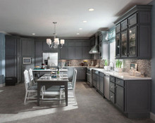 Kraftmaid Kitchen Cabinets -  Square Recessed Panel - Veneer (AC4M) Maple in Greyloft