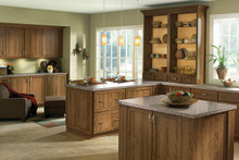 Kraftmaid Kitchen Cabinets -  Square Recessed Panel - Veneer (AC7C) Rustic Cherry in Husk