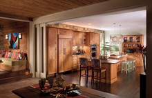 Kraftmaid Kitchen Cabinets -  Square Recessed Panel - Solid (DRHC) Cherry in Cinnamon