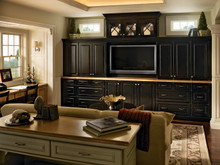 Kraftmaid Kitchen Cabinets -  Square Raised Panel - Solid (MTC) Cherry in Burnished Chocolate