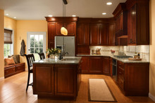 Kraftmaid Kitchen Cabinets -  Square Raised Panel - Solid (MTM) Maple in Burnished Ginger