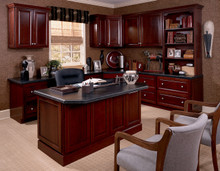 Kraftmaid Kitchen Cabinets -  Square Raised Panel - Solid (PK) Cherry in Sunset